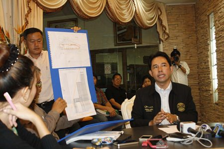 Mayor Itthiphol Kunplome called a press conference to address the chain of complaints about the construction of a 53-story condominium and hotel project at Bali Hai Pier after photos showing the tower obstructing a classic Pattaya viewpoint went viral on the Internet last week.