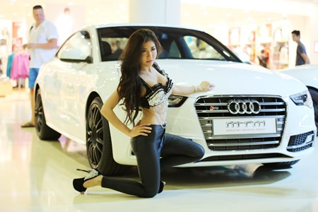 "The ""hot"" car wash of this 2014 Audi A5 Coupe by model Natnicha ""Nikky"" Sakuljarupong had customers' engines revving."