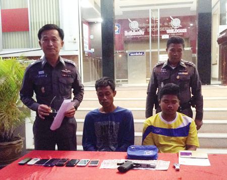 Naruebet Suthikaw and Thanatpol Thongtha, along with 5 underage teens, have been arrested for a string of gas station robberies.