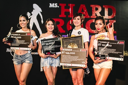(From Left-right): Miss Hard Rock Pattaya 2014 winners, Pam (Jirapriya Hemniti), Sandy (Lattawan Tala), Jadzia (Jomkhwuan Khuantakob) and Queenie (Maythavee Noen-U-Rai) celebrate on stage at the conclusion of the contest.