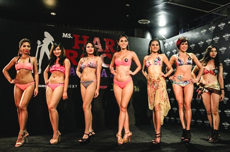 Finalists strike the pose during the Your Beach Style by Roxy Swimwear round.
