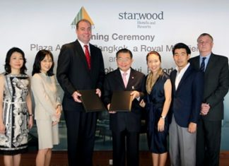 (L to R): June Ng, Regional Director HR, Starwood Hotels & Resorts, Indochina; Serena Lim, Vice President, Acquisitions & Development, Starwood Hotels & Resorts, Asia Pacific; Matthew Fry, Senior Vice President, Acquisitions & Development, Starwood Hotels & Resorts, Asia Pacific; Charoen Sirivadhanabhakdi, Chairman TCC Group; Wallapa Traisorat, President TCC Group; Soammaphat Traisorat, CEO TCC Group; and Georges Baurin, EVP-Asset Management, International Branded Hotels in Thailand, TCC Hotels Group, all pose for a photo during the signing ceremony for the soon to be rebranded Sheraton Samui Resort.