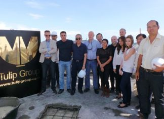 August 13 witnessed a major milestone for Tulip Group as the developer celebrated a topping out ceremony for its Waterfront Suites & Residence project at Bali Hai in South Pattaya. When completed, the 50-storey development will feature 300 luxury residences and a 120 key hotel. Joining the celebrations were Kobi Elbaz CEO, Jason Payne Vice President, Projects Asia, VKK construction, Inter Akitek and various members of the Tulip Group team.