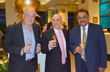 (L to R) Dr. Iain Corness, Shahin Shahabi, vintner at Stonehedge Winery and Pratheep Malhotra, Managing Director of the Pattaya Mail Media Group.