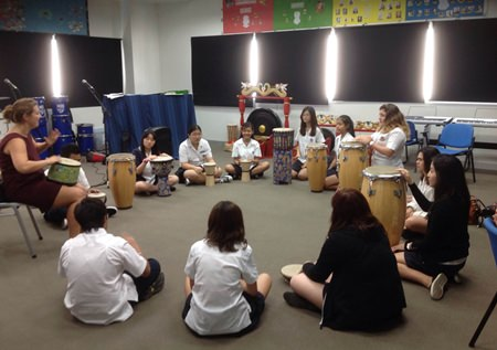 Music students enjoying the workshops during the day.