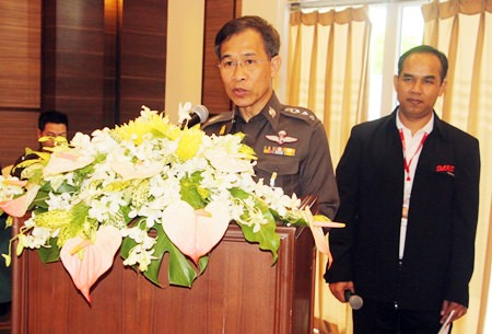 Col. Jirasak Meesattham, deputy commander of the general staff division at the Narcotics Suppression Bureau, tells a D.A.R.E. meeting in Pattaya that the bureau wants to recruit 3,276 more trainers by the end of 2015.