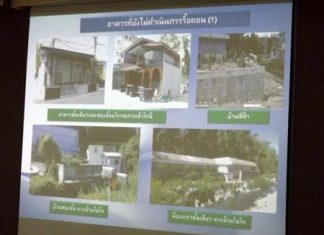 Four owners are not only ignoring orders to take down their structures along the South Pattaya canal (main photos), but are actually building more (upper right).