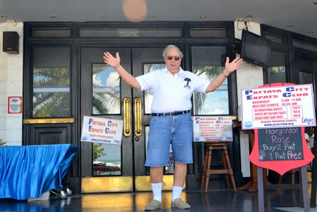 Wilson Fletcher greets new visitors with open arms at the PCEC regular Sunday meeting at the Amari Resort's Tavern by the Sea Restaurant where all are welcome to attend to enjoy a good breakfast and listen to an interesting speaker on subjects of interest to Expats.