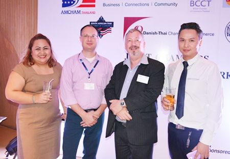 (L to R) Pichaya Nitikarn, PR Manager of the Amari Pattaya, Michael Berger, GM of Intergest Thailand, Ruairidh Watters and Kamolphop Suksamarn, Sales Manager of Nova Platinum Hotel.