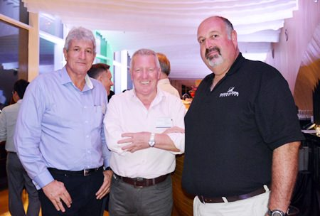 (L to R) Leigh Scott Kemmis, President of the AustCham, Brian Chapman, Associate Wealth Consultant Devere Group Thailand and Scott Finsten, Harbor Master of the Ocean Marina Yacht Club.