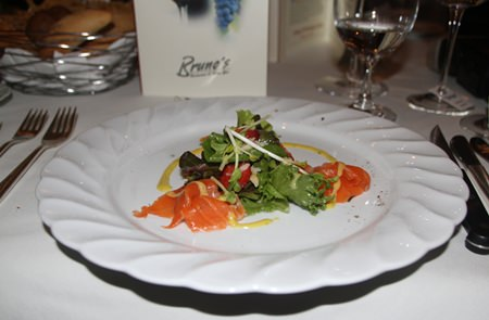 The five course menu commenced with in-house cured salmon gravlax over baby greens, strawberries and macadamia nuts in maple cider vinaigrette.