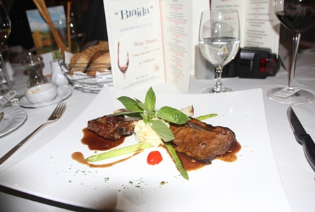 The main dish was the spectacular and perfectly cooked red wine braised beef brisket and lamb rack, with potato, asparagus and cherry tomatoes accompanied with the 2012 Braida Il Baciale Monferrato Rosso.