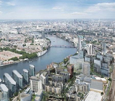 An artist's graphic shows the Nine Elms development in London (bottom left).
