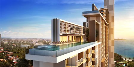 An artist's graphic shows Riviera Jomtien's spectacular sky pool.