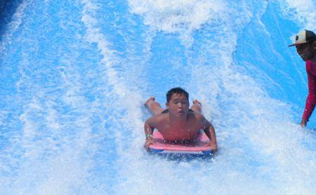 Tom Whatnall tackles the waves.
