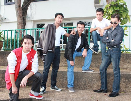 Looking good! GIS's male actors prepare for Grease.