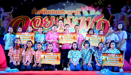 Student teams celebrate winning the krathong contest.