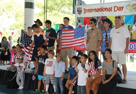 Students and parents representing the USA.