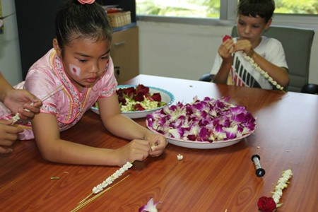 Students tried a wide variety of traditional Thai crafts.