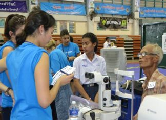 Opticians from OneSight Foundation in America provide free eye checkups during the event.