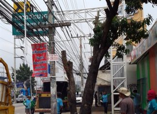 Pattaya Engineering Department workers cut trees and branches away from utility wires in front of Rattanakorn Market.