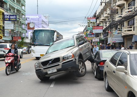 The Thai-Swiss driver of this Volvo was able to walk away from this crash with just a small cut on his nose.