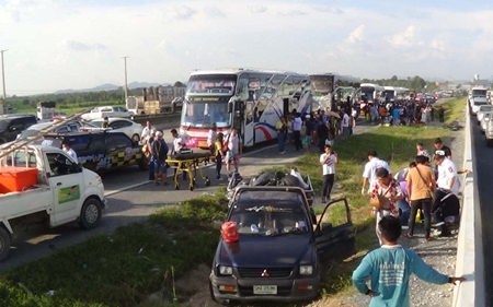 Five people were hospitalized and about 300 Chinese tourists received minor injuries when six tour buses collided on Highway 7 in Takientia.