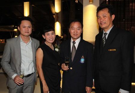 (L to R) Bantawat Kerkpittaya, Patt Srinoi, the Managing Director of Sri Siam Co., Ltd.; Anirut Posakrisna, the owner and chairman of Sri Siam Co. Ltd.; and Suchart Suksawad, Beverage Manager at the Royal Cliff Hotels Group.