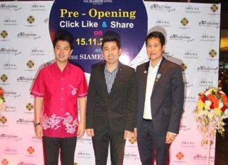 (L-R) Poramet Ngampichet, former MP of Pak Palangchon Region 7, Chris Cherdsuriya, Managing Director of the Siamese Hotel, and Bangjong Bantoonprayuk, deputy host of Pattaya pose for a photo at the pre-opening 'Click, Like & Share' party held at the Siamese Hotel on Nov. 15.