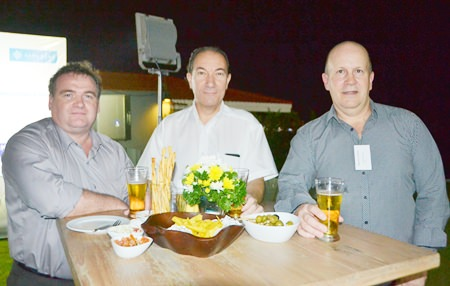 (L to R) Pascal Baetens, Kris De Keyzer and Warren Hollins from Antares Group are amongst the networkers.