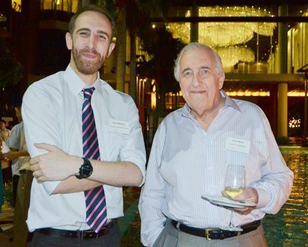David Williams from Bromsgrove International School shares a moment with Geoff Webb from Andrews & Wykeham.