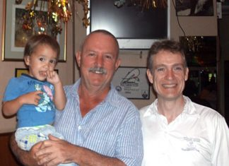 Sunday winners: Jim Bell (centre) with his son (left) and Robert Watkins.