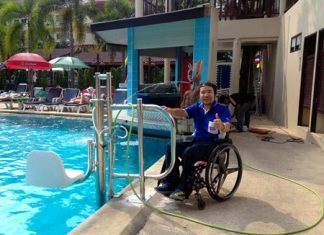 Thumbs up for the new pool lift for wheelchair users at the Diana Garden Resort.