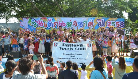 Noi Emmerson, Community Service Director of Pattaya Sports Club and friends support a fun Children's Day event at Sattahip Km #5 School in Plutaluang.