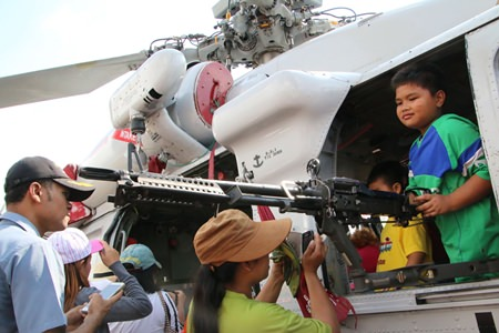 A young gunner poses for his mom at U-Tapao Airbase.