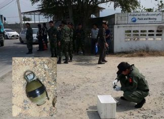 Banglamung authorities inspect a grenade (inset) found the Pack & Moving Co. in Laem Chabang.