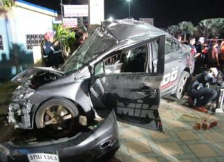 Two people were killed and their Honda Civic totaled just after midnight Jan. 2 on Sukhumvit Road.