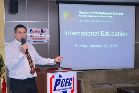 Dr. Stuart Tasker, Principal at Garden International School, explains to his PCEC audience the educational standards required and types of curriculum offered by international schools in Thailand.