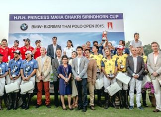 The 4 teams pose with their trophies at the conclusion of the 2015 BMW-B.Grimm Thai Polo Open.