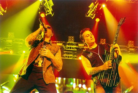 M. Shadows (left) and Synyster Gates (right) from the band Avenged Sevenfold perform at the Impact Arena in Bangkok, January 20, 2015.