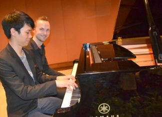 The concert featured the young award-winning pianists Benjamin Kim (front) and Andreas Donat (rear) with a programme of solos and piano duets.