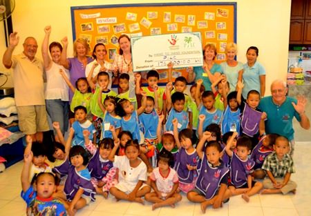 PILC's first visit this year was to donate funds to the Hand to Hand Foundation.