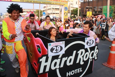 The team from Hard Rock Hotel crosses the finish line.