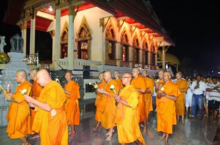 Monks lead the Wien Thien procession around Chong Samae San temple in Sattahip.