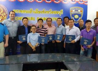 Superintendent Pol. Col. Prapansak Prasarnsuk and his officers were presented certificates of honor by Christopher M. Quirk, assistant U.S. ambassador.