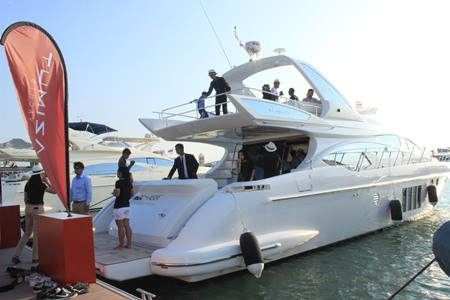 Guests at the grand opening were given an opportunity to tour one of the Azimut yachts.