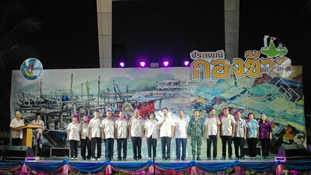 Mayor Itthiphol Kunplome and Pattaya City council members preside over the opening ceremony at this year's Rice festival.