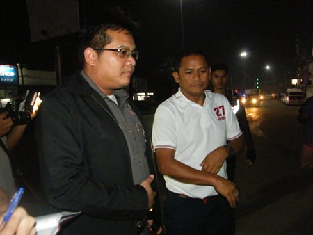 Pol. Sen. Sgt. Maj. Somyot Jumpahom (white shirt with #27) has been accused of running a red light whilst striking and killing a motorcyclist.