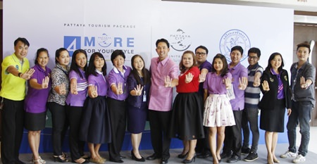 "Mayor Itthiphol Kunplome (center) and local officials announce the Pattaya Tourism Package initiative allowing tourists to book package tours online based on the themes of ""More Nature"", ""More Color"", ""More Business"", and ""More Life""."