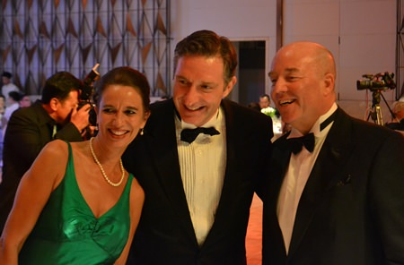 Three excellencies in one picture (from left) Swiss Ambassador Christine Schraner-Burgener, Austrian Ambassador Enno Drofenik and German Ambassador Rolf Schulze.